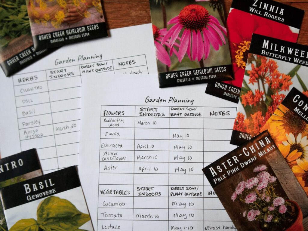 garden planning worksheets and seed packets