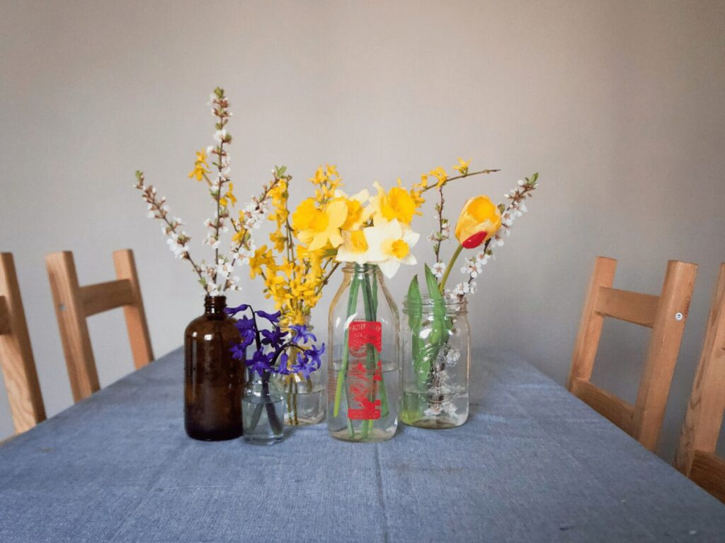 Assortment of bouqets on table for May Day celebration.