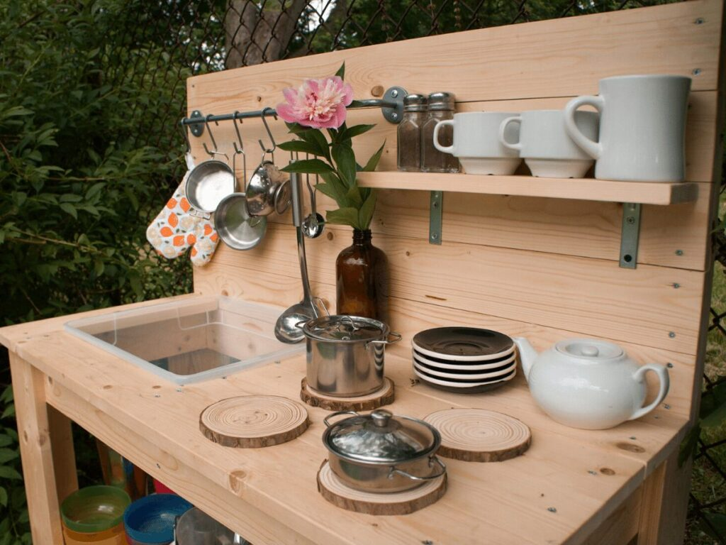 Close up of mud kitchen counter