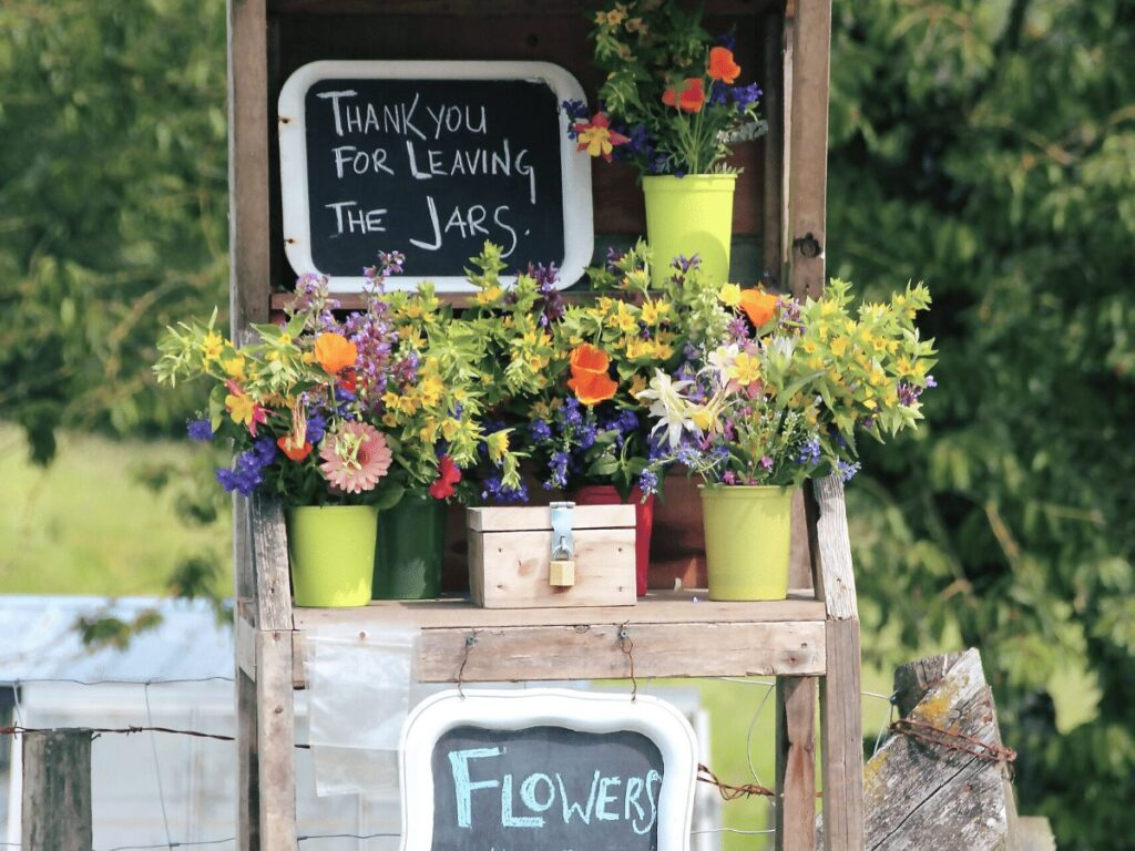 flower stand- business ideas for kids