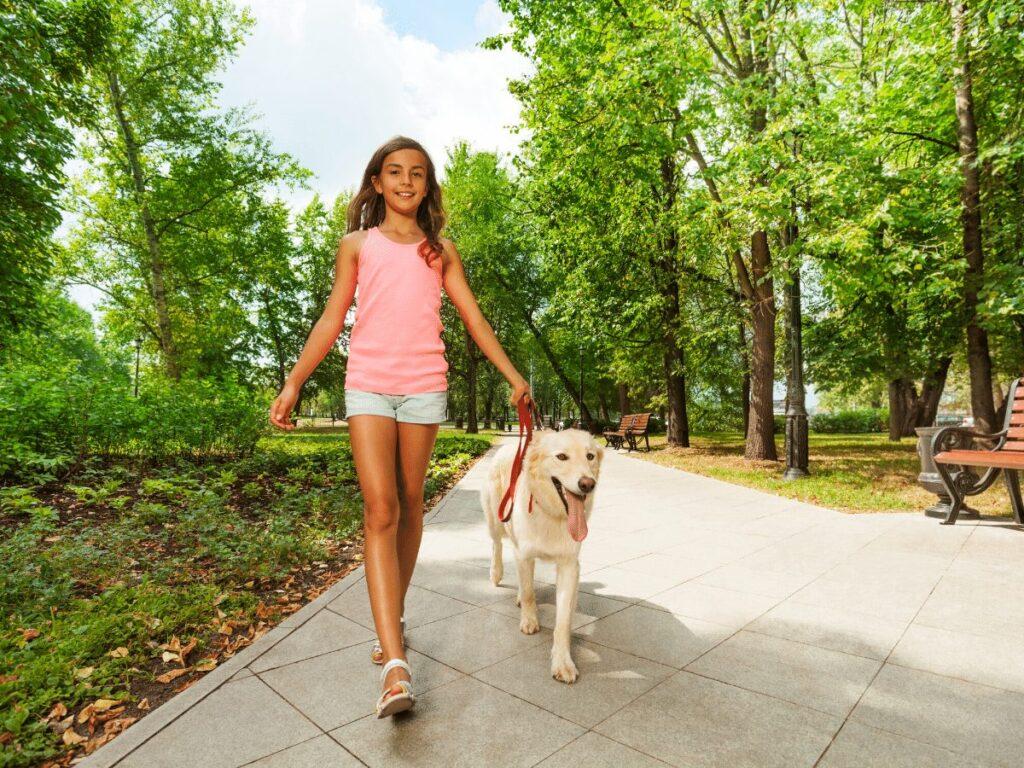 girl walks dog in park- business ideas for kids
