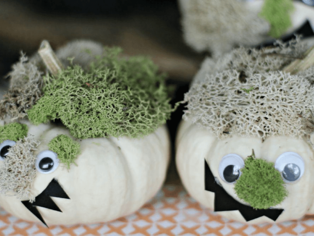 small white pumpkins decorated as silly monsters- pumpkin decorating ideas