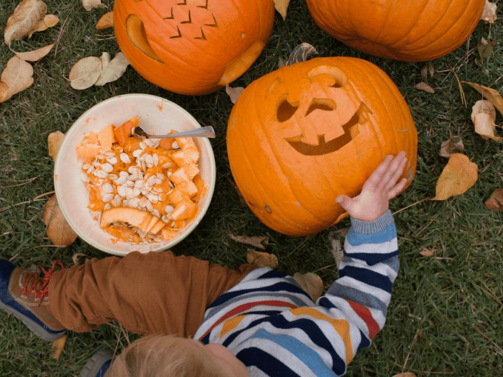 full bucket list, small boy sitting on grass with carved pumpkins and bucket of pumpkin seeds