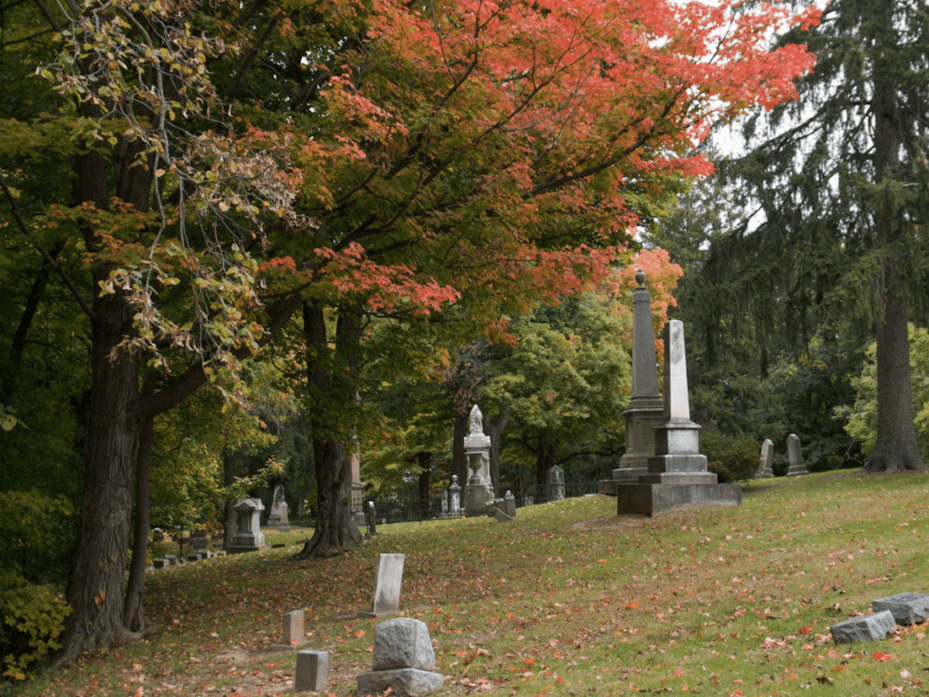 fall bucket list, hilly old cemetery with tree foliage turning red
