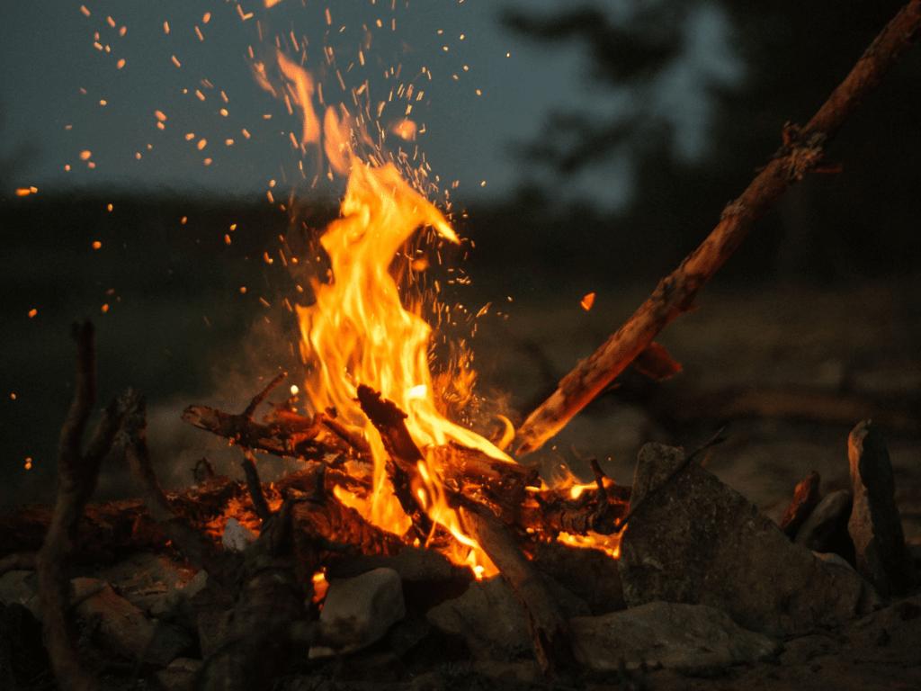 outdoor halloween activities, close up of campfire