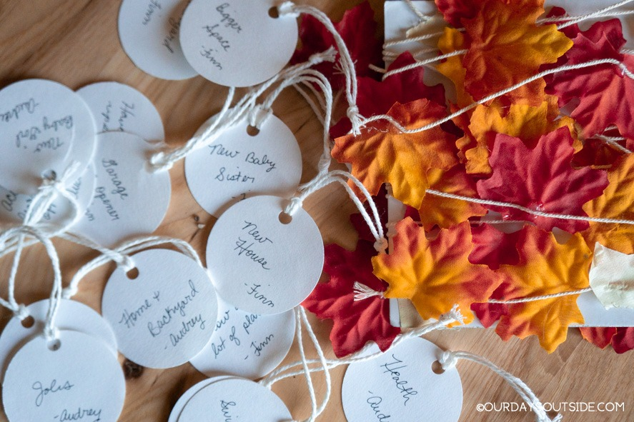 fabric leaves and paper circle ornaments for thankful tree