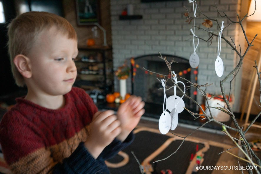 small boy hangs decorations on tree branches