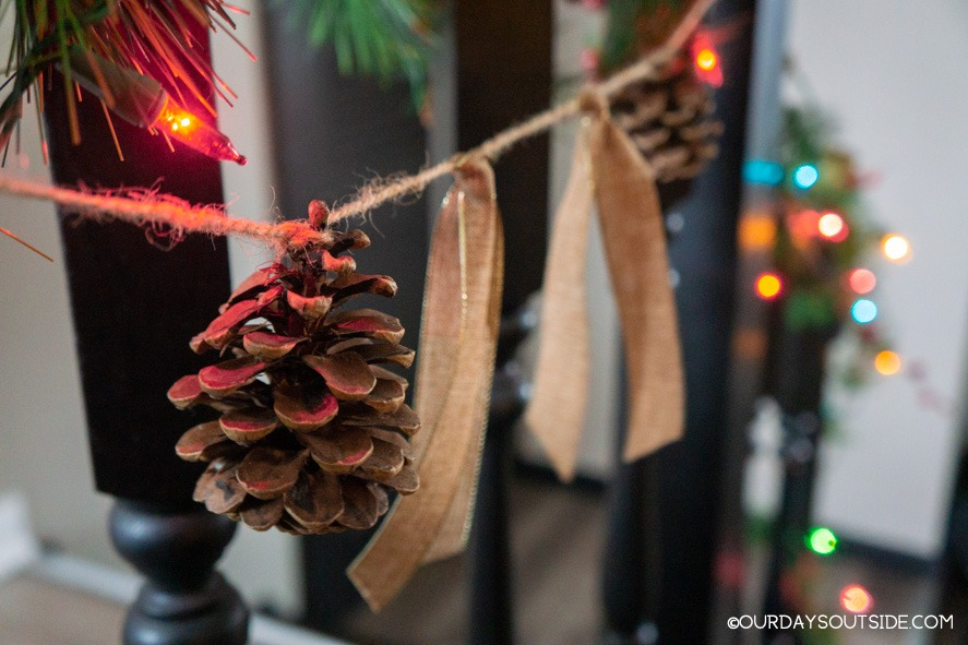 pine cone and ribbon garland- christmas decorations