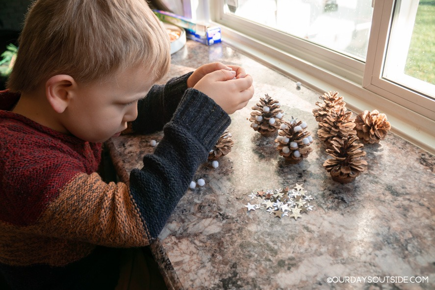 Small boy making pine cone Christmas decorations